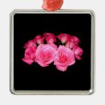 Ramo de rosas rosados ornamento de navidad