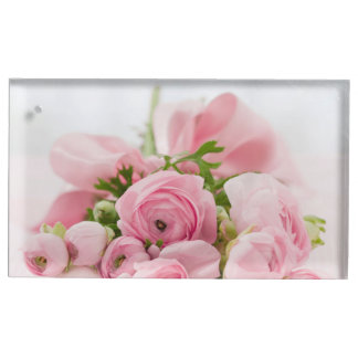 Ramo de rosas rosados soporte de tarjeta de mesa