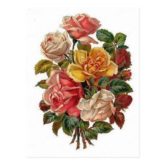 Ramo de rosas tarjetas postales