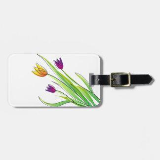 Ramo de tulipanes púrpuras y amarillos brillantes etiquetas para equipaje