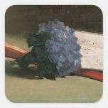 Ramo de violetas, 1872 pegatina cuadrada