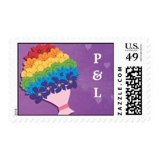 Ramo del arco iris con iniciales envio