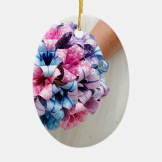 Ramo del boda de papel adorno ovalado de cerámica