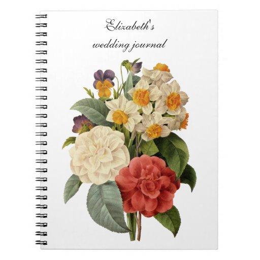 Ramo del boda del vintage, flores florecientes libretas