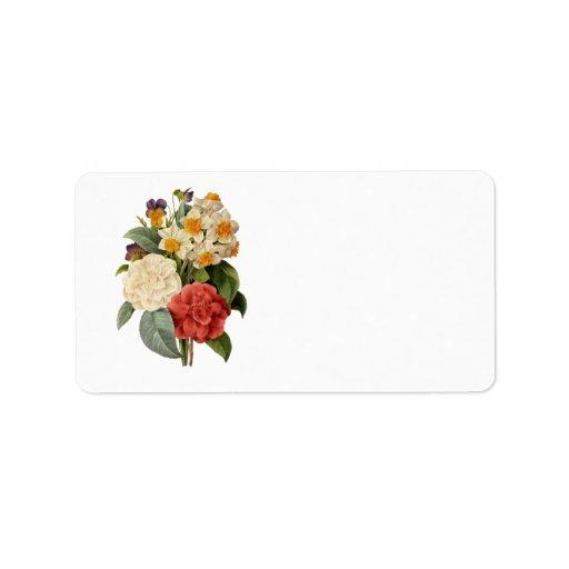 Ramo del boda del vintage, flores florecientes etiquetas de dirección