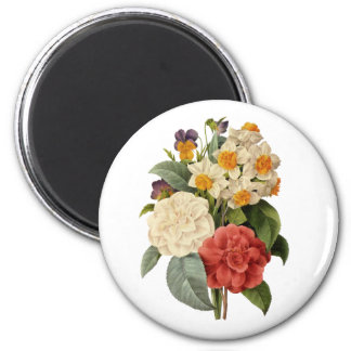 Ramo del boda del vintage, flores florecientes imán redondo 5 cm