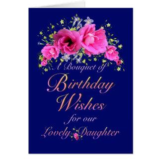 Ramo del cumpleaños de la hija de flores y de tarjeta de felicitación