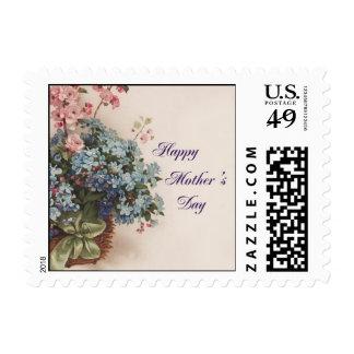 Ramo del día de madre en una cesta sello postal