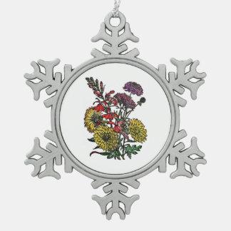 Ramo del jardín del verano adorno de peltre en forma de copo de nieve