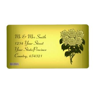 Ramo del rosa amarillo etiqueta de envío