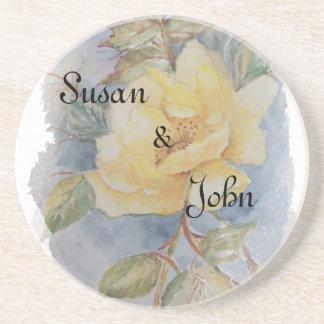 ramo del rosa amarillo posavasos personalizados