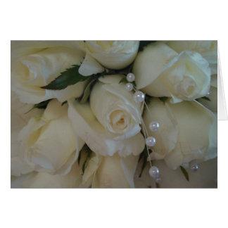 ramo del rosa blanco tarjeta de felicitación