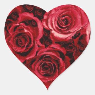 Ramo del rosa ROJO - sello del sobre del boda Pegatina En Forma De Corazón