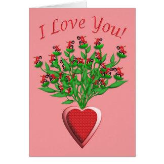 Ramo del tractor con el florero rojo del corazón tarjeta de felicitación