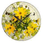 Ramo del verano, amarillo vibrante reloj redondo grande