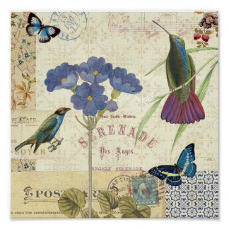 Ramo del vintage de flores, de pájaros y de posters