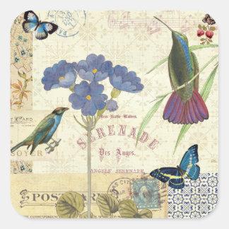 Ramo del vintage de flores, de pájaros y de pegatina cuadrada