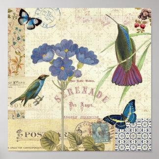 Ramo del vintage de flores, de pájaros y de póster