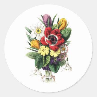 Ramo del vintage flores etiquetas redondas