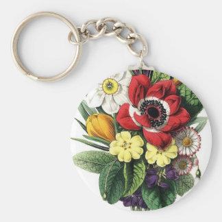 Ramo del vintage flores llavero personalizado