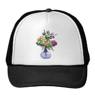Ramo en un florero de cristal gorras
