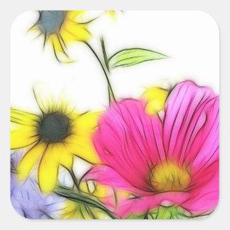 Ramo feliz de flores pegatina cuadrada
