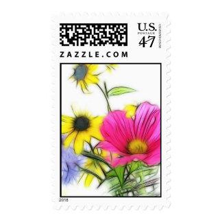 Ramo feliz de flores timbres postales