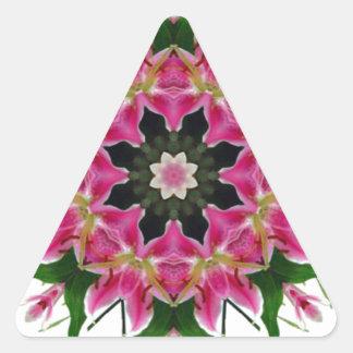 Ramo floral de la mandala del lirio rosado pegatina triangular