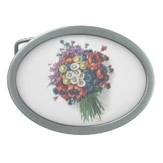 Ramo floral del vintage colorido femenino romántic hebilla de cinturon oval