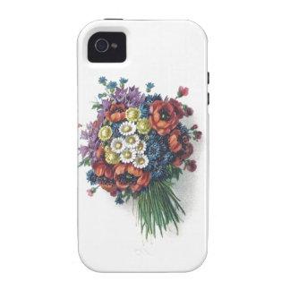 Ramo floral del vintage colorido romántico retro Case-Mate iPhone 4 carcasas