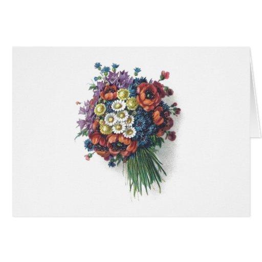 Ramo floral del vintage colorido romántico retro felicitaciones
