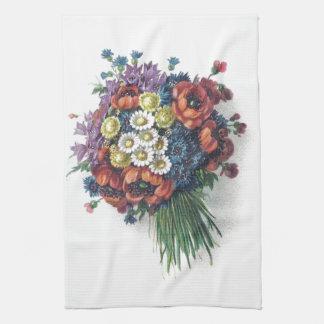 Ramo floral del vintage colorido romántico retro toalla de mano