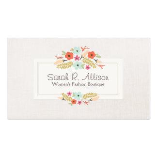 Ramo floral en colores pastel de las flores tarjetas de visita