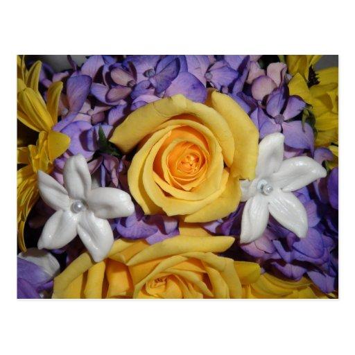 Ramo floral púrpura del boda tarjetas postales