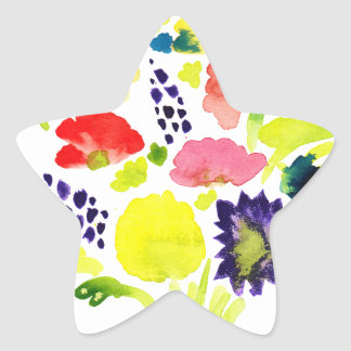Ramo hermoso de la acuarela de flores pegatina en forma de estrella