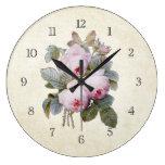 Ramo inglés de los rosas del Victorian del vintage Reloj Redondo Grande