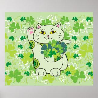 Ramo Maneki Neko (gato afortunado) del trébol Póster
