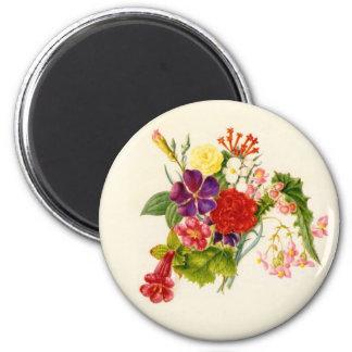 Ramo mezclado de la flor imán redondo 5 cm
