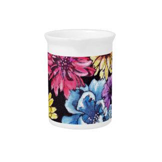 Ramo multicolor de la flor de la acuarela jarra