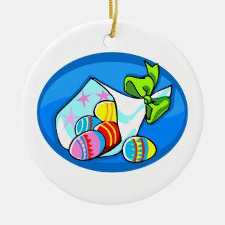 ramo oval.png azul del huevo adorno redondo de cerámica