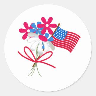 Ramo patriótico etiquetas redondas