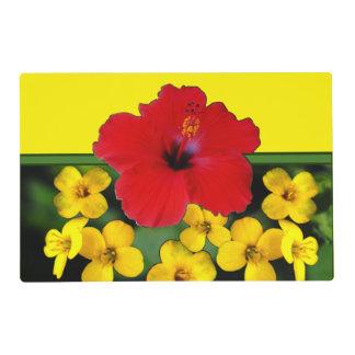 Ramo rojo de la flor del hibisco tapete individual