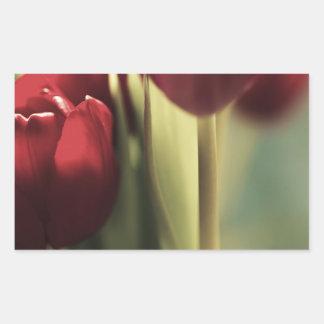 Ramo rojo, tulipanes, artography floral, pegatina rectangular