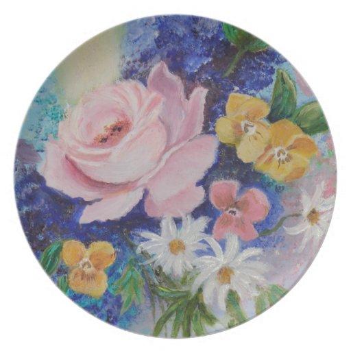 Ramo romántico de flores plato de cena