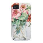 Ramo romántico de los rosas iPhone 4 carcasa