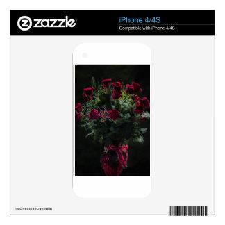 Ramo romántico del rosa rojo del arte de Digitaces Calcomanías Para El iPhone 4S
