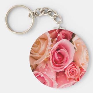 Ramo rosado de la flor llavero personalizado