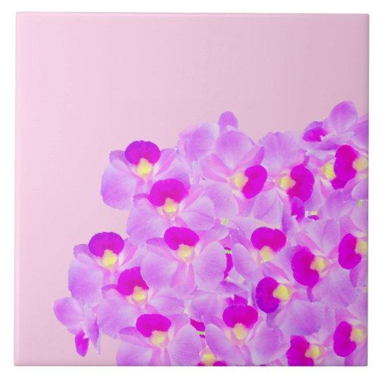 Ramo rosado de la orquídea azulejo cuadrado grande