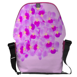 Ramo rosado de la orquídea bolsas messenger