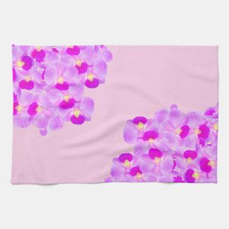 Ramo rosado de la orquídea toallas de cocina